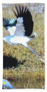 Wood Stork And Blue Heron Bath Towel