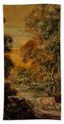 Wooded Landscape With Herdsman And Cattle Bath Towel
