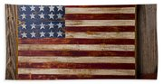 Wooden American Flag On Wood Wall Hand Towel