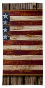 Wooden American Flag On Wood Wall Bath Towel