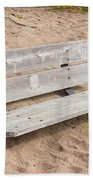Wooden Bench Burried In The Sand Bath Towel