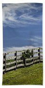 Wooden Farm Fence On Crest Of A Hill Bath Towel