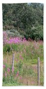 Wooden Fence And Pink Fireweed In Norway Bath Towel