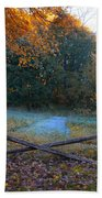Wooden Fence In Autumn Bath Towel