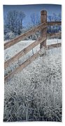 Wooden Fence Of A Friesian Horse Pasture On Windmill Island Bath Towel