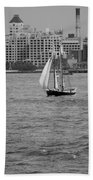 Wooden Ship On The Water Bath Towel