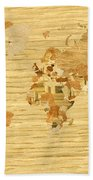 Wooden World Map 2 Bath Towel