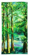 Woodside View Green Hand Towel
