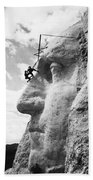 Working On Mt. Rushmore Bath Towel by Underwood Archives