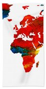 World Map 12 - Colorful Red Map By Sharon Cummings Bath Towel