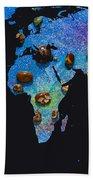 World Map And Sagittarius Constellation Bath Towel
