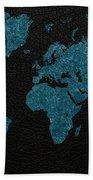World Map Blue Vintage Fabric On Dark Leather Bath Towel