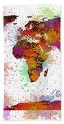 World Map Digital Watercolor Painting Bath Towel