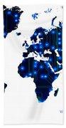 World Map In Blue Lights Bath Towel