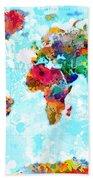 World Map Spattered Paint Bath Towel
