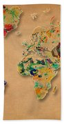 World Map Watercolor Painting 2 Bath Towel