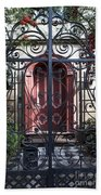 Wrought Iron Gate And Red Door Charleston South Carolina Bath Towel