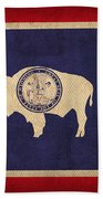 Wyoming State Flag Art On Worn Canvas Bath Towel