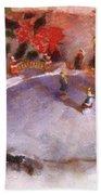 Xmas Skating Rink Photo Art Bath Towel