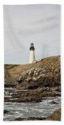 Yaquina Head Lighthouse From The Beach Bath Towel