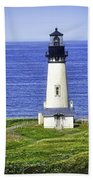 Yaquina Lighthouse From The Big Hill Bath Towel