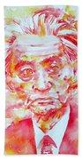 Yasunari Kawabata Watercolor Portrait Bath Towel