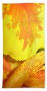 Yellow And Orange Petals Illuminated Bath Towel