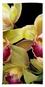 Yellow And Pink Orchids Bath Towel