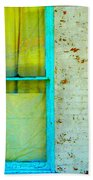 Art Deco Lamp And Yellow And Turquoise Window Bath Towel