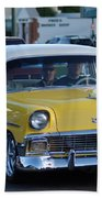 Yellow And White Classic Chevy Bath Towel