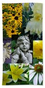 Yellow And White Flower Collage Bath Towel