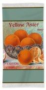 Yellow Aster Brand Oranges Vertical Bath Towel