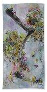 Yellow Blossoms Painting Flowr Butterflies Art Abstract Modern Spring Color Flower Art Bath Towel
