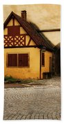 Yellow Building And Wall In Rothenburg Germany Bath Towel