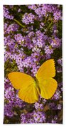 Yellow Butterfly On Pink Flowers Bath Towel