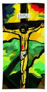 Yellow Christ  After Gauguin Bath Towel