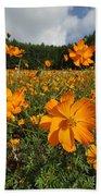 Yellow Cosmos Field In Flower Japan Bath Towel