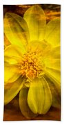 Yellow Dahlia Under Water Bath Towel