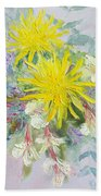 Yellow Dahlias And Peruvian Lilies Bath Towel