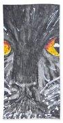 Yellow Eyed Black Cat Bath Towel