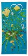 Yellow Floral Enchantment In Turquoise Bath Towel