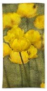 Yellow Flowers With Texture Bath Towel