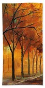 Yellow Fog - Palette Knife Oil Painting On Canvas By Leonid Afremov Bath Towel