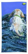 Yellow Lab  Blue Wake Bath Towel