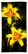 Yellow Lilies Bath Towel