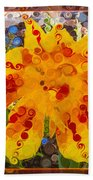 Yellow Lily With Streaks Of Red Abstract Painting Flower Art Bath Towel