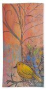 Yellow Peace Bird On Orange Bath Towel