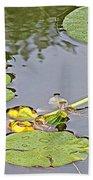 Yellow Pond Lilies On Lake Yellowhead Along Yellowhead Highway-b Bath Towel