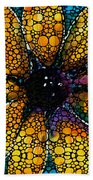 Yellow Sunflower - Stone Rock'd Art By Sharon Cummings Bath Towel