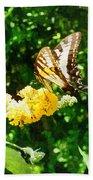 Yellow Swallowtail On Yellow Lantana Bath Towel